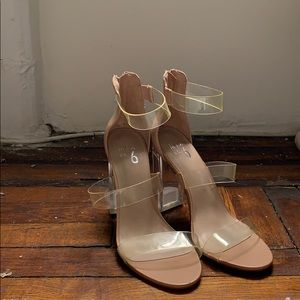 Mix No. 6 clear strappy heels nude / blush 8.5